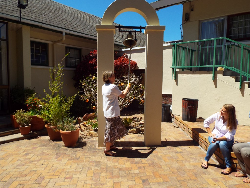 Mrs de Beer ringing the bell for the last time (2)